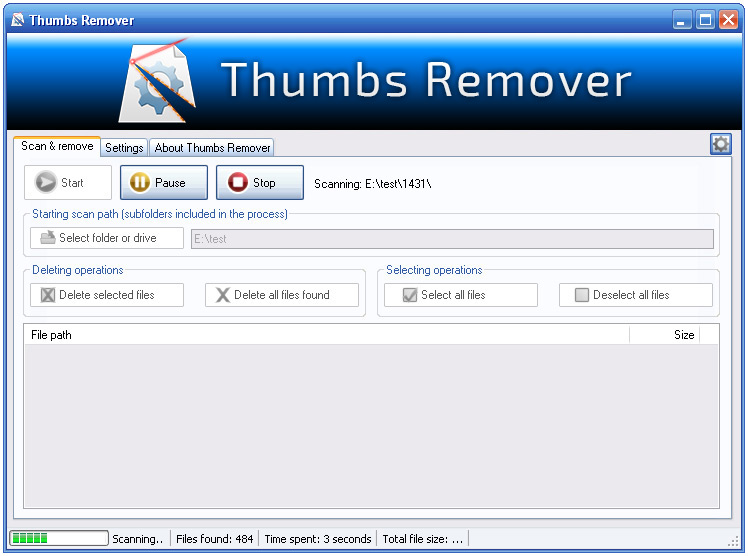 ������ Thumbs Remover 1.6.1 ���� ��� thumbs.db ������ �� ������